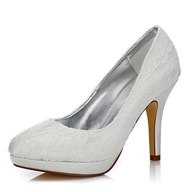 Femme Chaussures Soie Tulle Hiver Automne Confort club de Chaussures Chaussures Dyeable Chaussures de mariage Talon Aiguille Bout rond