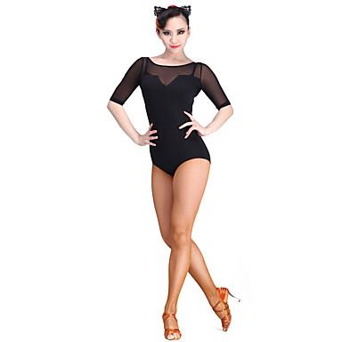 Dança Latina Malha Mulheres Espetáculo Tule / Fibra de Leite Manga 3/4 Collant / Pijama Macacão