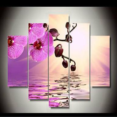 Gerollte Leinwand Blumenmuster/Botanisch Klassisch, Fünf Panele Horizontal Druck Wand Dekoration Haus Dekoration