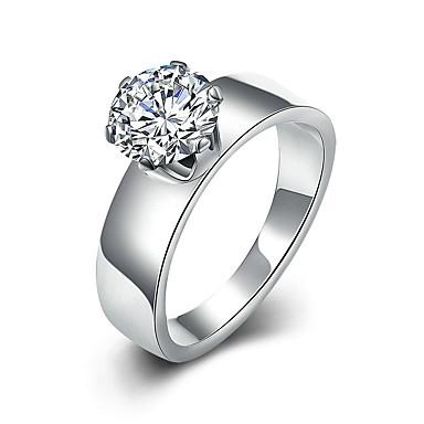 Mulheres Solitário Anel / Anel de noivado - Aço Titânio Estilo simples, Fashion 6 / 7 / 8 Prata Para Presentes de Natal / Casamento / Festa