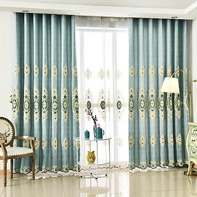 Barra no Interior Anéis Presilhas Duplo Plissado Único Plissado Dois Painéis Tratamento janela Europeu, Bordado Flor Quarto Poliéster