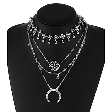 Mulheres Geométrica colares em camadas - Original, Boêmio, Boho Prata Colar Para Festa, Diário, Casual
