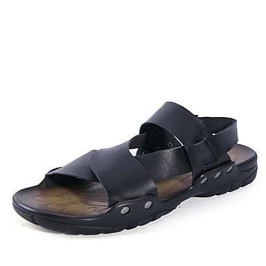 Pánské Obuv PU Jaro Léto Pohodlné Sandály Přezky pro Ležérní Černá Hnědá Modrá