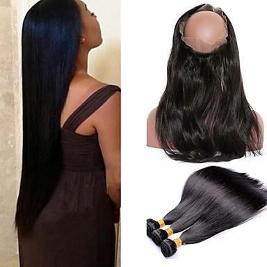 Cabelo da Birmânia Liso / 360 Frontal Cabelo Virgem Um Pacote de Solução Tramas de cabelo humano 8a Extensões de cabelo humano