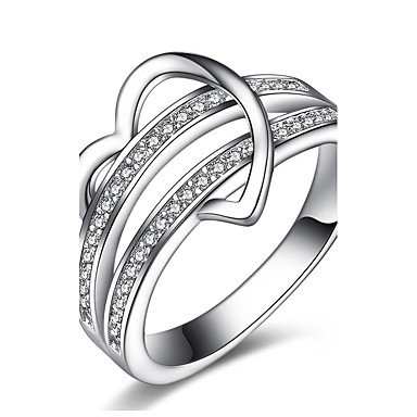 billige Motering-Dame Band Ring Ring Forlovelsesring Kubisk Zirkonium Sølv Sølv Zirkonium damer Klassisk Vintage Julegaver Bryllup Smykker Hjerte