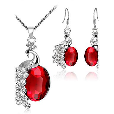 Mulheres Conjunto de jóias Conjunto de Jóias, Colar - Strass Vermelho, Verde, Azul
