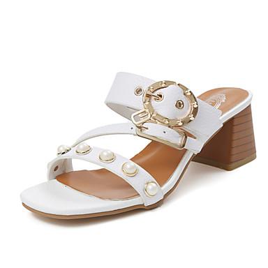 Damen Schuhe PU Sommer Komfort Sandalen Walking Blockabsatz Offene Spitze Weiß / Schwarz / Beige