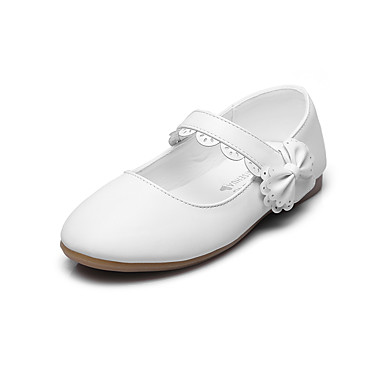 Para Meninas Sapatos Courino Primavera Verão Conforto Rasos Apliques / Velcro para Preto / Vermelho / Rosa claro / Festas & Noite