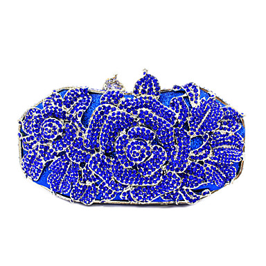 Mulheres Bolsas PU / Metal Bolsa de Mão Cristal / Strass / Flor Preto / Vermelho / Rosa / Rhinestone Crystal Evening Bags