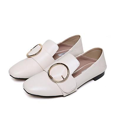 Damen Loafers & Slip-Ons Komfort PU Frühling Normal Komfort Weiß Schwarz Flach