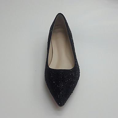 Plat mariage pointu Synthétique Noir Femme de 05815241 Bout Automne Argent Chaussures Ballerine Talon Chaussures Paillette Printemps Strass S4Uwv