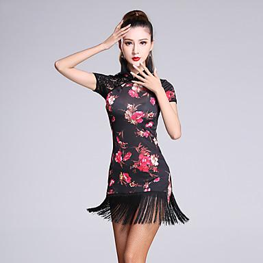 라틴 댄스 드레스 여성용 성능 비스코스 1개 민소매 내츄럴 드레스