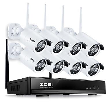 kit de vigilância zosi®8ch 960p NVR sistema de CCTV sem fio 8pcs 1.3MP câmera IP Wi-Fi de segurança em casa à prova de água