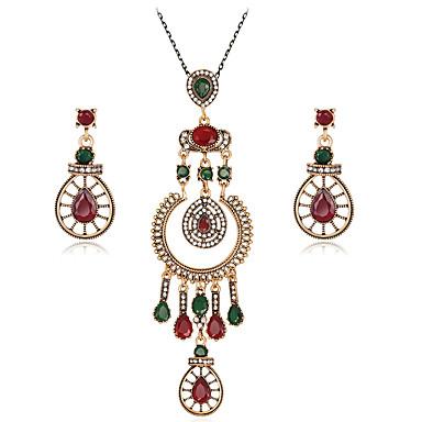 Mulheres Strass Conjunto de jóias 1 Colar 1 Par de Brincos - Euramerican Fashion Caído Vermelho Conjunto de Jóias Colares com Pendentes