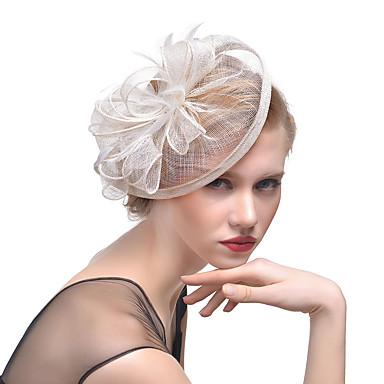 levne Ozdoby do vlasů na večírek-Tyl / Peří Klobouk Kentucky Derby / Fascinátory / Doplňky do vlasů s Květiny 1ks Svatební / Zvláštní příležitosti Přílba