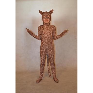 Ternos Zentai Ninja Animal Fantasias Fantasia Zentai Fantasias de Cosplay Marron Leopardo Estampa Animal Collant/Pijama Macacão Elastano