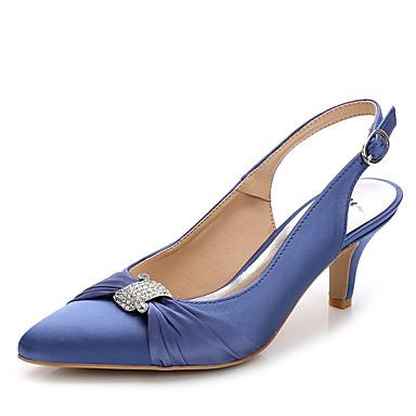 Mulheres Sapatos Seda Náilon Verão Outono Chanel Sapatos clube Sandálias Salto Agulha Dedo Apontado Pedrarias Cristais Presilha Cadarço