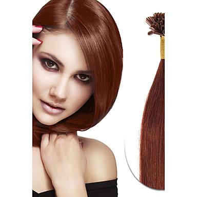 Queratina / Ponta U Extensões de cabelo humano Cabelo Humano Liso Mulheres Diário