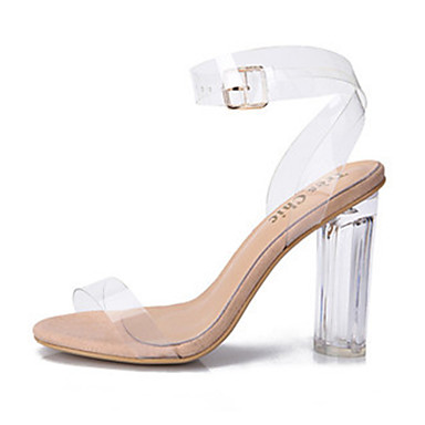 cheap Women's Shoes-Women's Sandals Jelly Sandals Chunky Heel / Block Heel Peep Toe Buckle PVC(Polyvinyl chloride) Transparent Shoes Spring / Summer White / Black / Party & Evening / Party & Evening / EU41