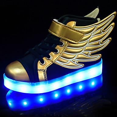 Para Meninos Sapatos Couro Ecológico Verão / Outono Conforto / Inovador / Tênis com LED Tênis Caminhada Cadarço / Colchete / LED para Dourado / Borracha