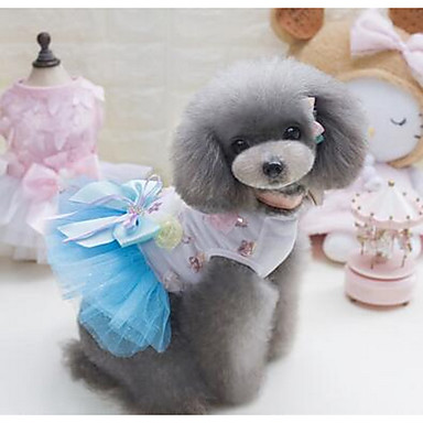Dog Dress Dog Clothes Princess Green Blue Pink Cotton Costume For Summer Women's Casual / Daily Fashion