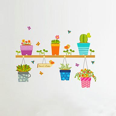 المزين بالأزهار النباتية كارتون ملصقات الحائط لواصق حائط الطائرة لواصق حائط مزخرفة, الفينيل تصميم ديكور المنزل جدار مائي جدار زجاج /