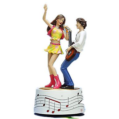 Caixa de música Madeira Quadrada Rotativo Presente Unisexo Dom
