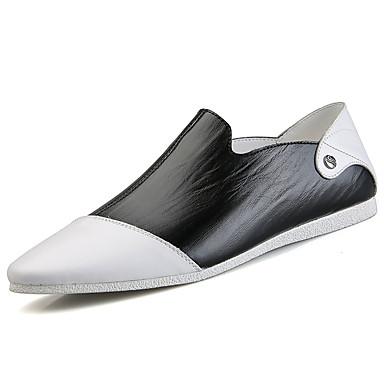 Homens Loafers de conforto Pele Primavera / Outono Conforto Mocassins e Slip-Ons Caminhada Branco / Preto