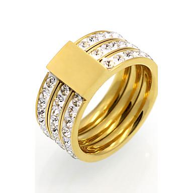 Női Kocka cirkónia Band Ring - Circle Shape Vintage / elegáns / Divat Arany / Ezüst Gyűrű Kompatibilitás Esküvő / Eljegyzés / Napi