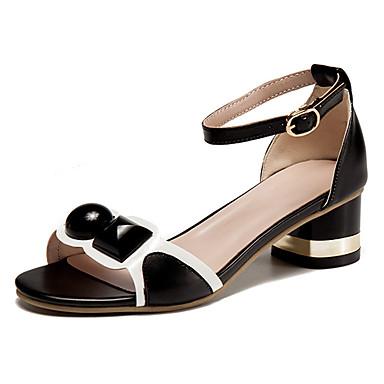 Mujer Zapatos Cuero Sintético Verano Confort Sandalias Tacón Plano Dedo redondo Blanco / Negro MXy9HA