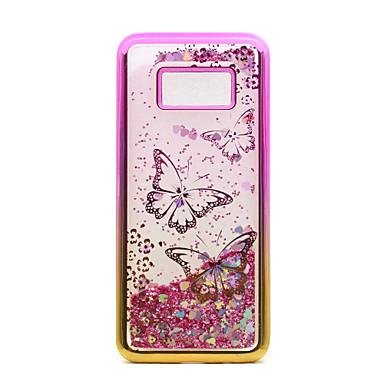 Capinha Para Samsung Galaxy S8 Plus S8 Galvanizado Liquido Flutuante Estampada Capa traseira Borboleta Glitter Brilhante Macia TPU para