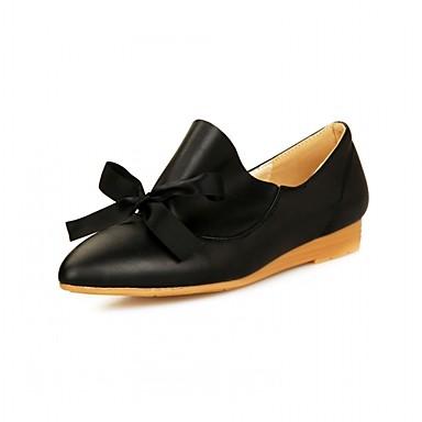 Damen Schuhe PU Lackleder Kunststoff Sommer Herbst Neuheit Komfort Flache Schuhe Walking Flacher Absatz Spitze Zehe Schleife für Büro &
