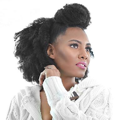 voordelige Extensions van echt haar-PANSY Clip-in Extensions van echt haar Kinky Curly Echt haar Braziliaans haar Zwart