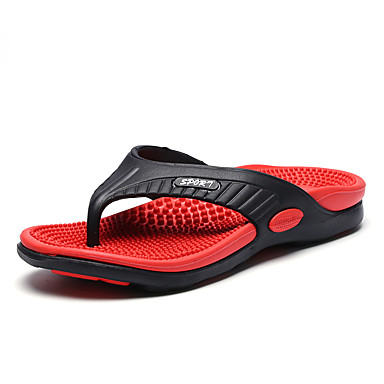 남성 슬리퍼 플립 플롭 워터 슈즈 컴포트 조명 신발 PVC 여름 캐쥬얼 플랫 오렌지 옐로우 브라운 레드 그린 플랫