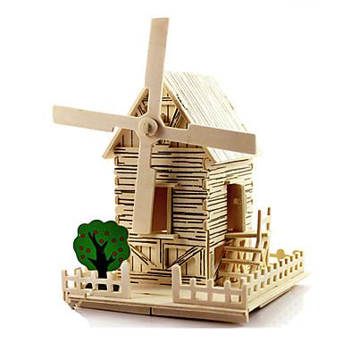 voordelige 3D-puzzels-3D-puzzels Houten modellen Windmolen Beroemd gebouw Huis DHZ Puinen 1 pcs Kinderen Volwassenen Unisex Jongens Meisjes Speeltjes Geschenk