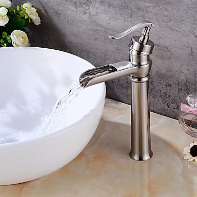 Torneira pia do banheiro - Pré Enxaguada Separada Níquel Escovado Conjunto Central Monocomando Dois Buracos