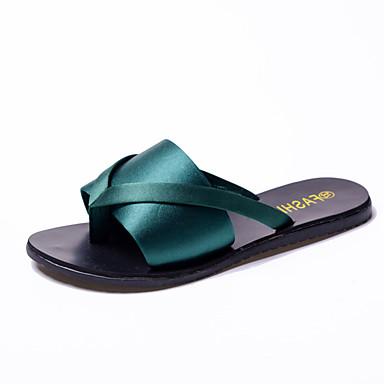 Damen Schuhe Kunstleder Frühling Sommer Komfort Club-Schuhe Slippers & Flip-Flops Flacher Absatz Runde Zehe Offene Spitze für Normal Kleid