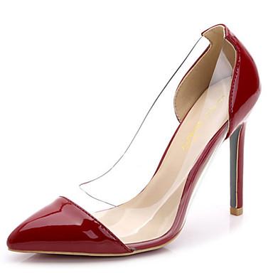 Women's Spring Summer Fall Winter Suede Dress Stiletto Heel Split Joint Claret-red Black White Red Silver