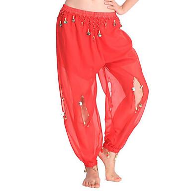 Dança do Ventre Fundos Mulheres Espetáculo Chiffon Pingente Alto Calças