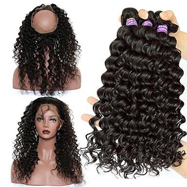 Cabelo Malaio 360 Frontal / Onda Profunda Cabelo Virgem Um Pacote de Solução Tramas de cabelo humano 8a Extensões de cabelo humano