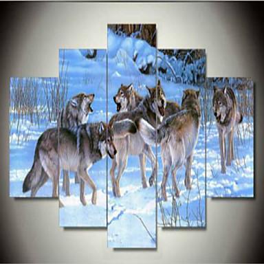 Kunstdrucke Tier Ländlich,Fünf Panele Horizontal Druck-Kunst Wand Dekoration For Haus Dekoration