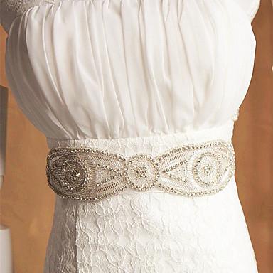 billige Skjerf til fest-Taffeta satin bryllup sashes med Rhinestone appliques elegant stil