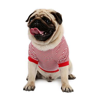 Gato Cachorro Camiseta Moletom Colete Roupas para Cães Riscas Vermelho Azul Algodão Ocasiões Especiais Para animais de estimação Homens