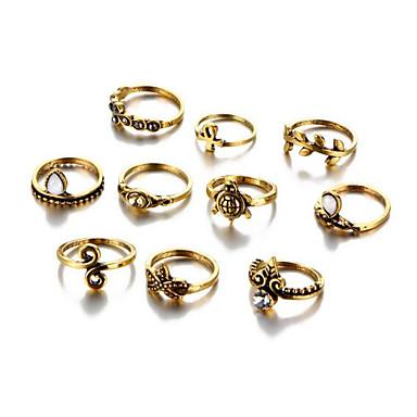 billige Motering-Dame Ring Set Legering damer Uvanlig Unikt design Vintage Motering Smykker Gull / Sølv Til Daglig En størrelse