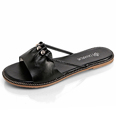 Mulheres Sapatos Couro Ecológico Verão Conforto Sandálias Caminhada Sem Salto Dedo Aberto para Ao ar livre Branco Preto