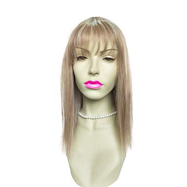 Perucas sintéticas Liso Kinky Liso Com Franjas Loiro Mulheres Sem Touca Peruca Natural Longo Cabelo Sintético