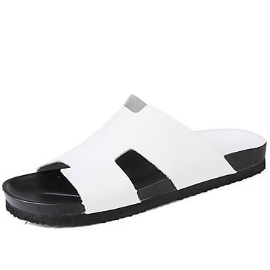 Homens Sapatos Confortáveis Pele Primavera / Verão / Outono Chinelos e flip-flops Água Branco / Preto / Atlético