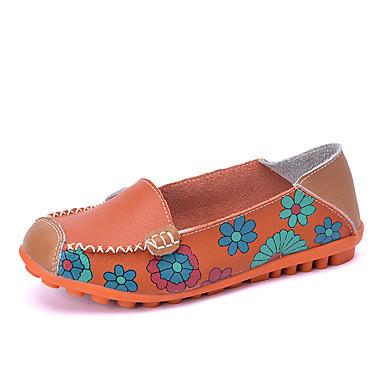 Mulheres Sapatos Courino Verão Outono Solados com Luzes Conforto Mocassim Mocassins e Slip-Ons Caminhada Salto Baixo Ponta Redonda