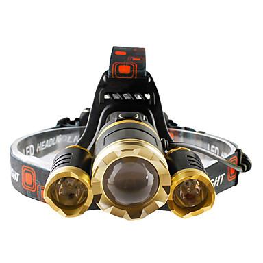 Lanternas de Cabeça Farol Dianteiro LED 4800 lumens lm 4.0 Modo Cree T6 Zoomable Foco Ajustável Resistente ao Impacto Recarregável