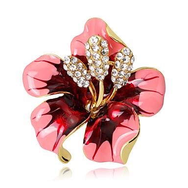 abordables Epingles & Broches-Femme Broche Fleur Cristal Broche Bijoux Rose Pailleté Rouge Noir Pour Mariage Soirée Occasion spéciale Quotidien